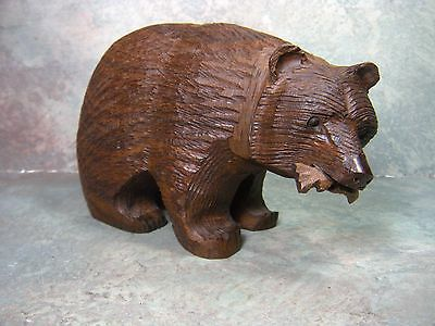Vintage Hand Carved Ironwood Grizzly Bear with fish