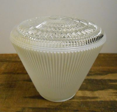 Mid Century Vtg Ceiling Light Frosted & Clear Glass Conical Art Deco Shade