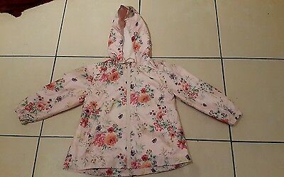 Next Girls Raincoat With Hood - Age 2-3 Years Vgc