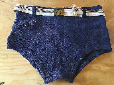 Vintage 1930-40's Wool Trunk Swimsuit Belt w/Buckle Bathing Suit Gantner? Surf