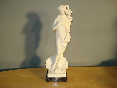 A. Santini Nude Woman and Clamshell Sculpture Statue Marble Base Signed