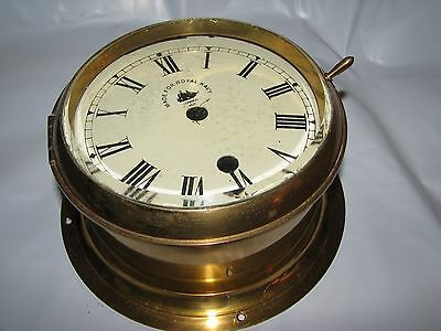 Antique Brass Ships Clock Case with Royal Navy Dial