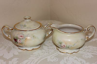 Porcelain Hand Painted Sugar Bowl & Creamer, Beautiful Roses, Exquisite Detail!