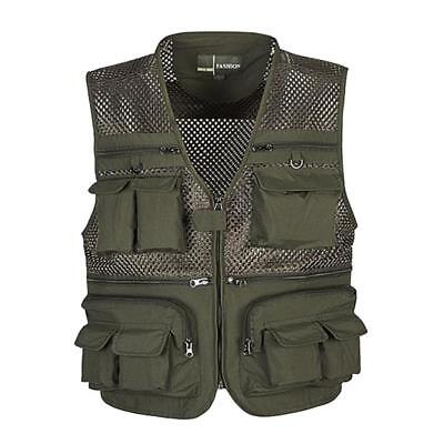 Men Multi Pocket Mesh Vest Fishing Photography Travel Jacket Quick-Dry Waistcoat