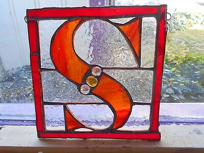 "Stained Glass Window Panel Suncatcher Letter ""s"" Red Art"