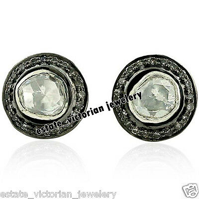 Vintage Estate 1.52Cts Rose Antique Cut Diamond Jewelry Sterling Silver Earring