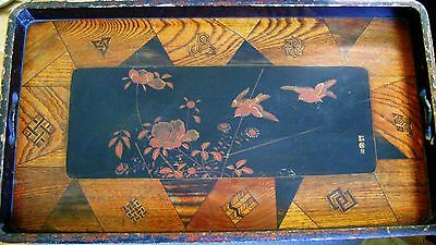 Vintage mixed wooden tray marquetry and oriental lacquer signed