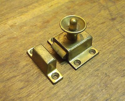 Salvaged Architectural Vintage Brass/Plated Push In Sprung Catch & Keep