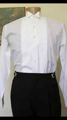 "Tuxedo Shirt White Wing Collar 1/4"" pleats (choose sizes)"