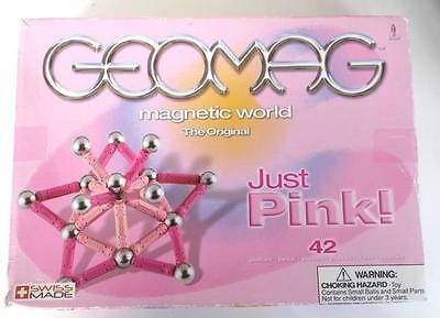 "GEOMAG MAGNETIC WORLD 42 Pieces 'Just Pink"" *Boxed & Complete* The Original"