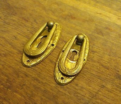 Pair Of Matching Decorative Oval Salvaged Architectural Vintage Escutcheons