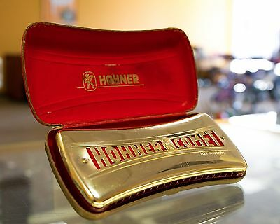 Vintage Hohner Comet Gold Tone Harmonica with Original Case Made in Germany