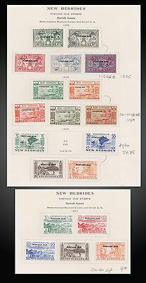 1925 1938 1953 1957 New Hebrides British Issues Postage Due Sct J1 - J20 Mh + U