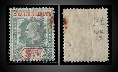 1905 Straits S. King Edward Vii 5$ Dull Green / Brown Orange Sct 127 Sg 138 Used