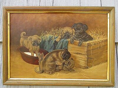 Antique Primitive Folk Art Oil on Academy Board of Group of Puppies Dog