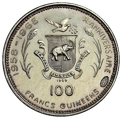 Guinea 100 Francs silver coin 1969 Km#9 elephant M.Luther VE01 harsh lines on