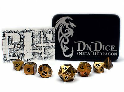 DnDice Dice Cast Metal Gold Poly Dice Set   Ultimate Role-Playing Accessory