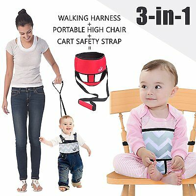 Umin 3 in 1 Portable/ Travel High Chair + Toddler Safety Walking Harness - Red