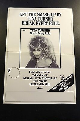 Tina Turner Break Every Rule Full Page Advertising Sheet/Poster RARE