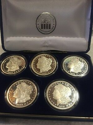 Proof copy Set of 5 CC $1 Morgan Silver dollar coin-national collector's mint