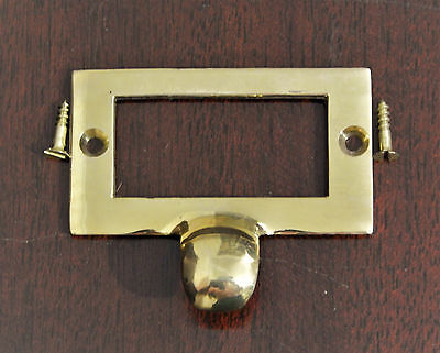 File Cabinet Drawer Finger Pull Card Frame Brass