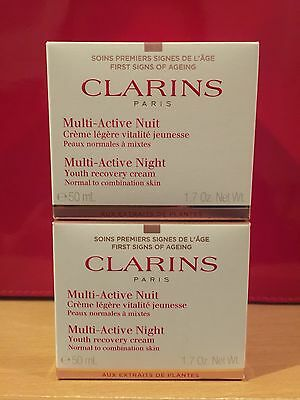 2 x Clarins Multi Active Night Cream 50ml - Normal To Combination Skin