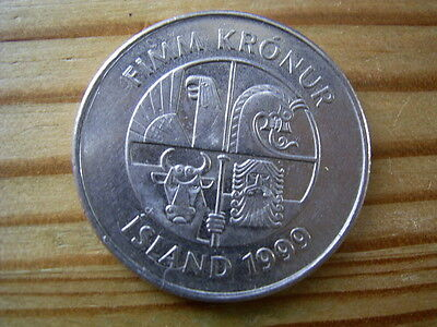 1999  Iceland 5 krone Coin collectable