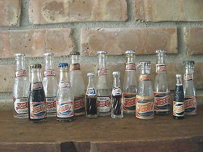 LOT of 13 PEPSI-COLA Mini Miniature Glass Soda Bottles