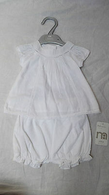 BNWT Baby Girls Mothercare White 100% Cotton Summer Top & Shorts set, 3-6m, £14