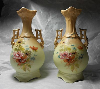 1800s/1900s Antique Victorian Austrian Hand Painted Bud Vase w Wing Handles