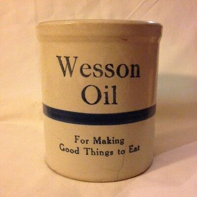 Antique 1900's Wesson Oil Advertising Cream and Cobalt Crock