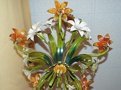 Shabby ITALIAN TOLE Metal Art FLOWER & LEAF 5-Arm CHANDELIER Ceiling Light w/Tag