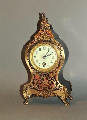 19th Century French Boulle Clock With Brass Inlay & Ormolu Mounts