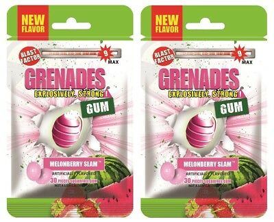Grenades Gum - MelonBerry Slam - Explosively Intense, Strong Gum! Sugar-Free