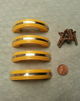 Art Deco Yellow Plastic Pulls (4) Kitchen Drawer Handles Vintage NOS
