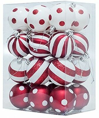 Christmas Tree Baubles Decorations with Polka Dots Xmas Trees (Red and White)