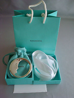 TIFFANY sterling silver ~ NEW ~ BABY MOON RATTLE TEETHER ~ box,pouch,ribbon,bag