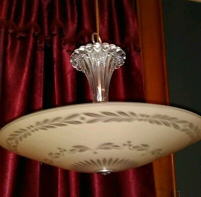 Vtg Art Deco Frosted And Clear Pressed Glass Ball Chandelier Light Fixture