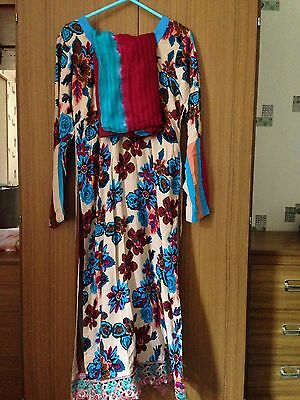 New Ladies Asian Size Small Cream & Blue Floral Patterned Cotton Salwar Kameez