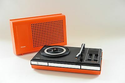 70s Serviced Vintage Philips 523 Portable Stereo Design Record Player Turntable