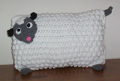 Crochet Animal Pillow White Baby Lamb Baby Toddler Soft Bed Nursery Pillow 12x16