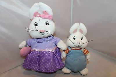 "7"" Max and 10"" Ruby Set of 2 plush bunny Rabbits Excellent Cond. Purple Dress"