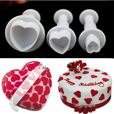 3Pcs Fondant Plunger Love Heart Cutters Icing Mould Cake Decorating Baking Tools