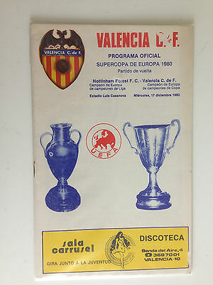 Programme Official Valencia Spain Nottingham Forest England Super Cup 1980 Rare!