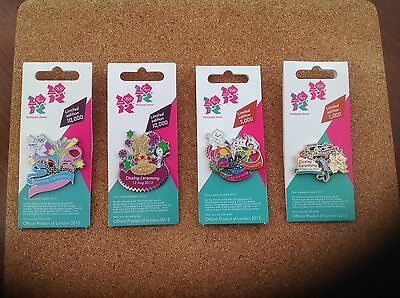 2012 London Olympic/ Paralympic Opening and closing Ceremony Pin Badges.Set of 4