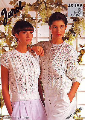 "Knitting Pattern - Ladies S-XL Lacy Cable Sweater & Sleeveless Top 30-50"" DK"