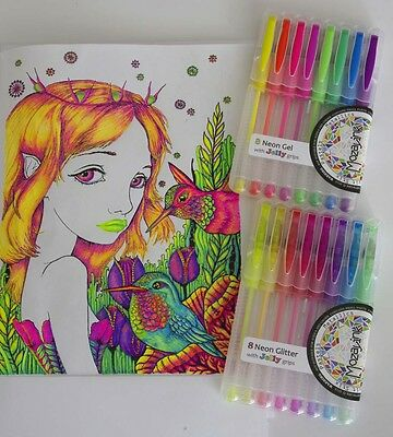 16 Pk Quality Neon Gel and Neon Glitter Pens individual colours, with soft grips