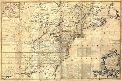 HUGE Historic 1757 wall Map of British and French New England OLD COLONIAL MAP