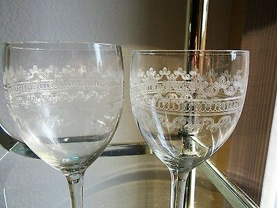 Six Etched Wine/Water Glasses