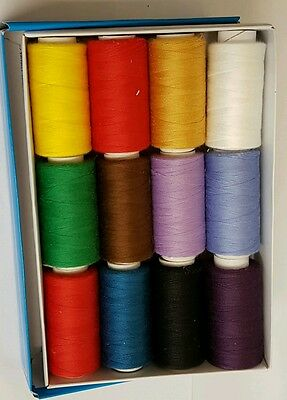 12 Colour Spools Finest Quality Sewing All Purpose 100% Polyester Thread Reel